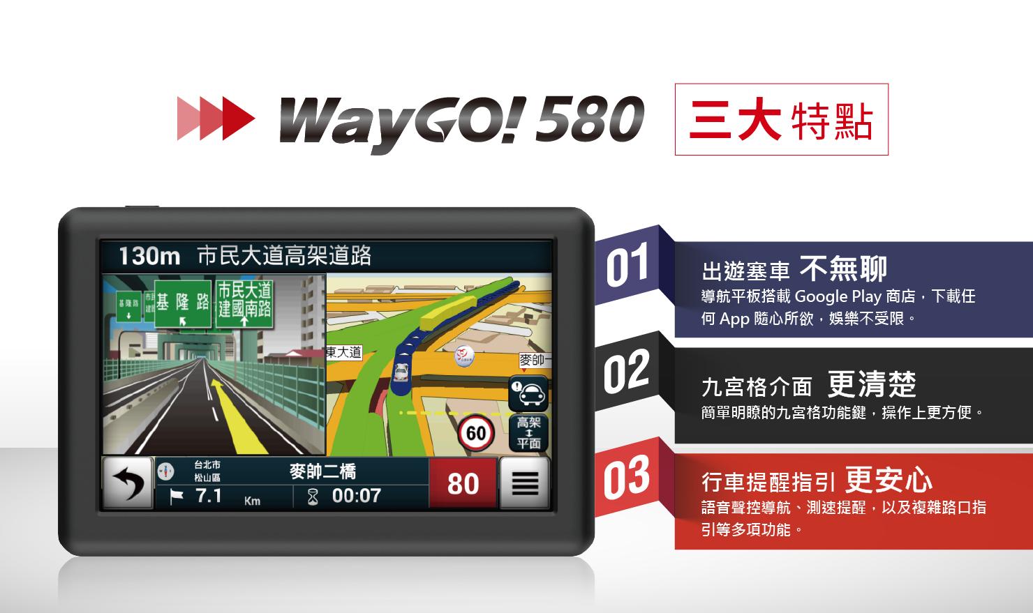 WayGo 580 三大特點: 出遊塞車不無聊、九宮格介面更清楚、行車提醒指引更安心