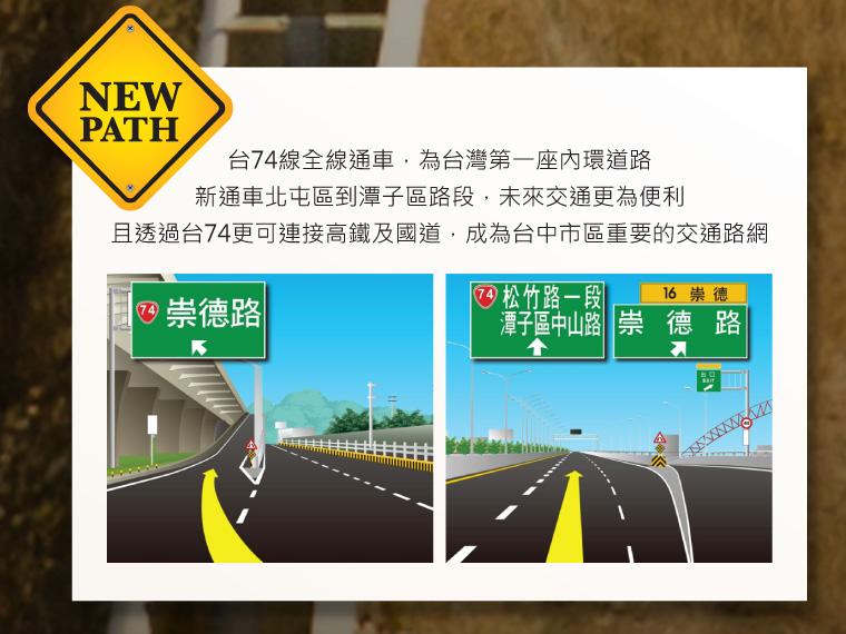 台 74 線全線通車,為台灣第一座內環道路。新通車北屯區到潭子區路段,未來交通更為便利,且透過台 74 更可連接高鐵及國道,成為台中市區重要的交通路網。