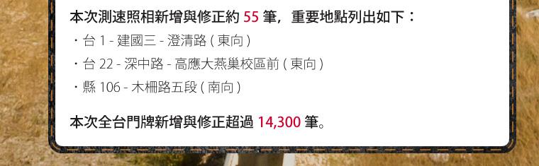本次測速照相新增與修正約 55 筆。本次全台門牌新增與修正超過 14,300 筆。