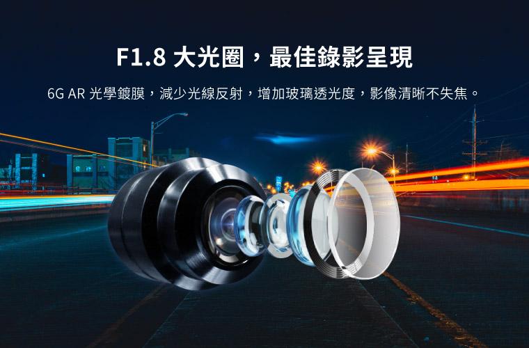 F1.8 大光圈,最佳錄影呈現 6G AR 光學鍍膜,減少光線反射,增加玻璃透光度,影像清晰不失焦。