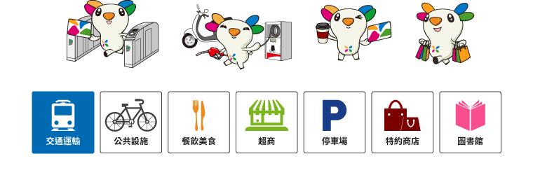 交通運輸 / 公共設施 / 餐飲美食 / 超商 / 停車場 / 特約商店 / 圖書館