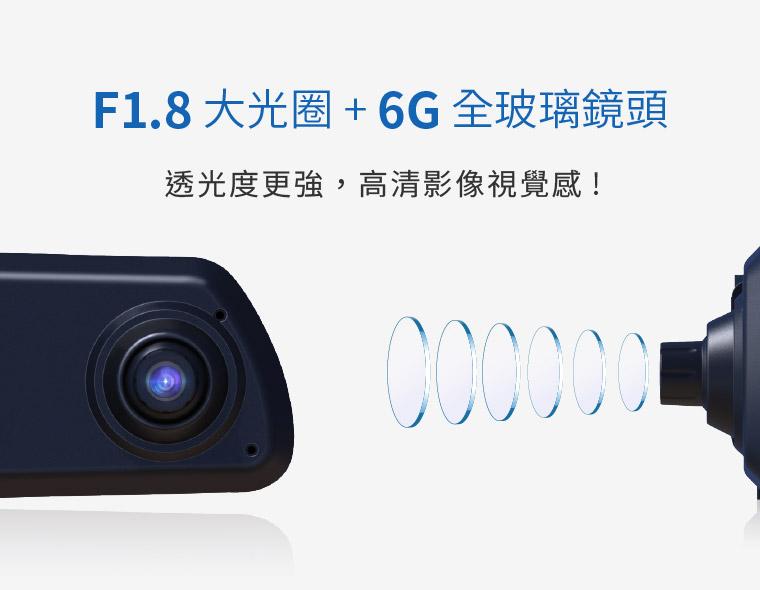 F1.8 大光圈 + 6G 全玻璃鏡頭|透光度更強,高清影像視覺感!