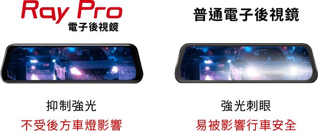 Ray PRO 抑制強光,不受後方車燈影響
