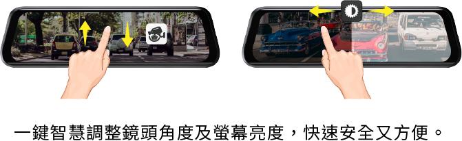 一鍵智慧調整鏡頭角度及螢幕亮度,快速安全又方便。