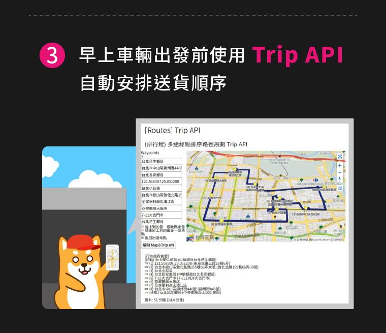 (3)早上車輛出發前使用Trip API自動安排送貨順序