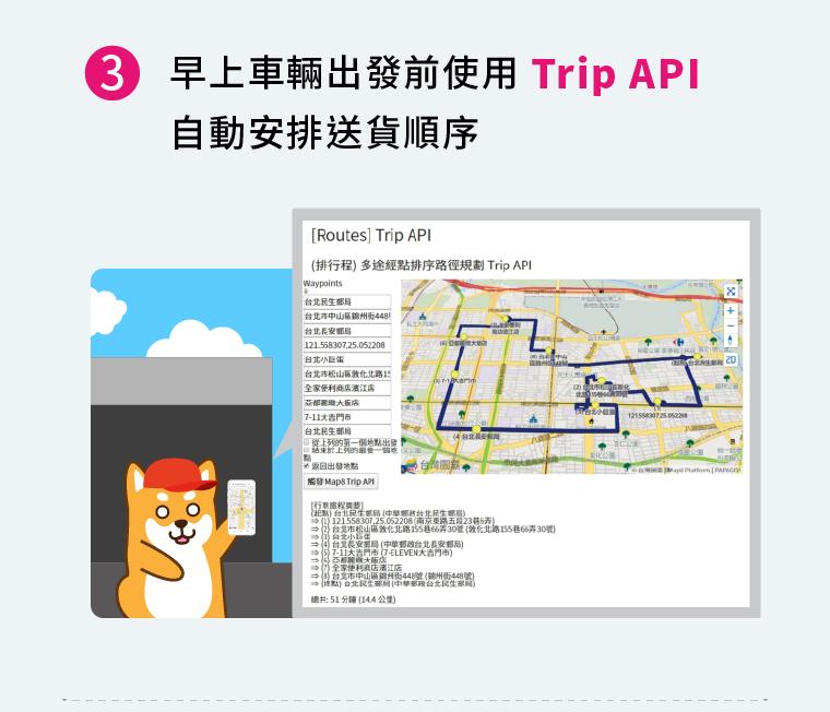 3早上車輛出發前使用Trip API自動安排送貨順序