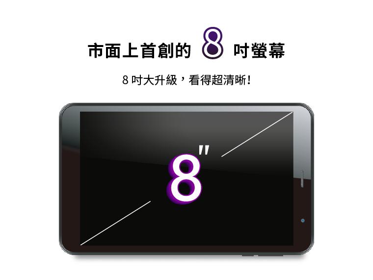 市面上首創的8吋螢幕